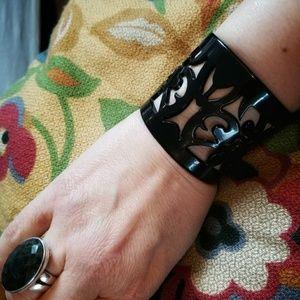 Black Laser Cut Plastic Lace Cuff Bracelet sm/md